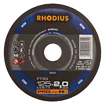 Круг отрезной по стали, прямой FT33 125 x 2,0 x 22,23, RHODIUS