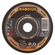 Круг отрезной INOX прямой FT38 125 x 2,0 x 22,23, RHODIUS